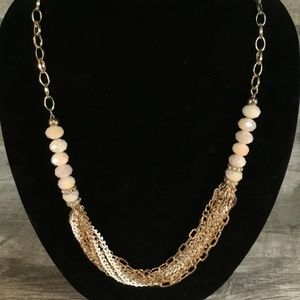 Jewelry - Rose/Cream beads w/ white and gold chain Necklace
